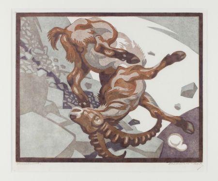 Linolschnitt Bresslern-Roth - Stürzender Steinbock (Falling Ibex)