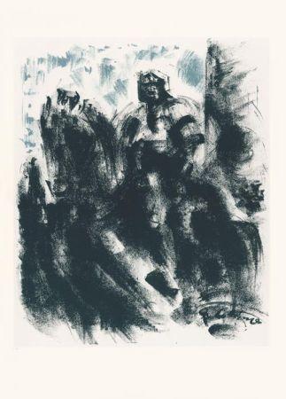 Lithographie Masson - Statue du Colleoni, la nuit (Voyage à Venise)