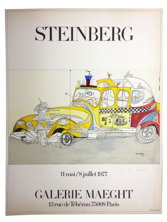 Lithographie Steinberg - STEINBERG 1977. TAXI. Galerie Maeght. Épreuve de luxe signée.
