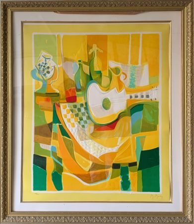 Radierung Und Aquatinta Mouly - Still Life in Yellow with Guitar