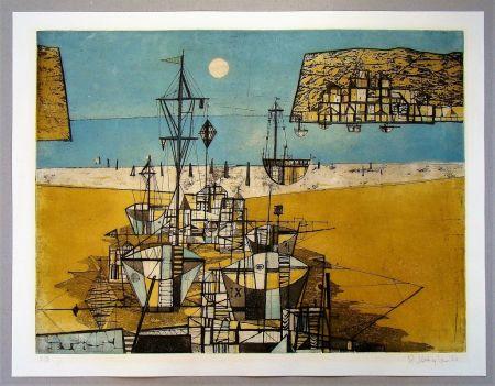 Radierung Und Aquatinta Kügler - Strandbild- 1956