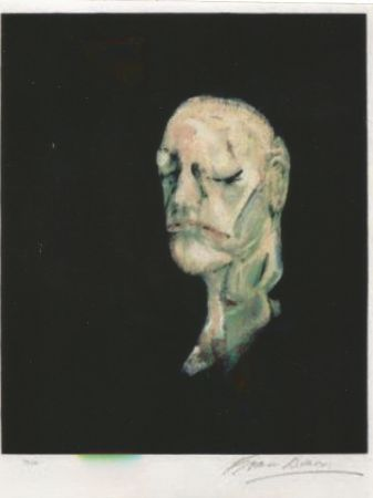 Lithographie Bacon - Study portrait after the life mask of William Blake