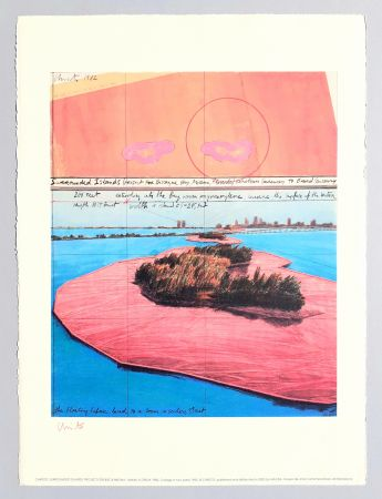 Lithographie Christo - Surrounded islands, project for Biscane Bay