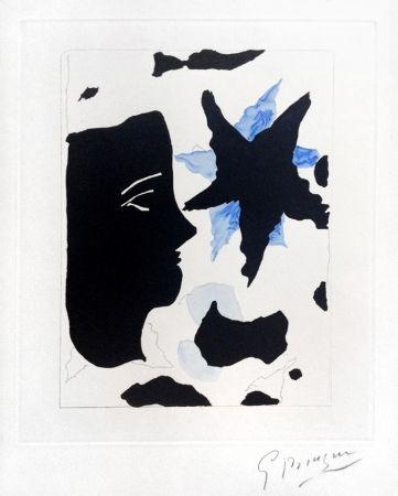 Radierung Und Aquatinta Braque - Téte En Profil E L'Étoile (Head In Profile And Star) From Georges Braque – Nouvelles Sculptures Et Plaque Graveés, 1960