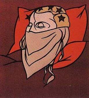 Lithographie Adami - Tête de femme