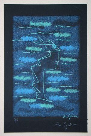 Lithographie Cocteau - Tête d'homme aux yeux poisson
