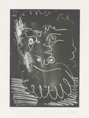 Aquatinta Picasso -  Tête d'homme barbu (1966)