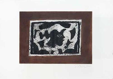 Stich Braque - Tête grecque sur fond brun