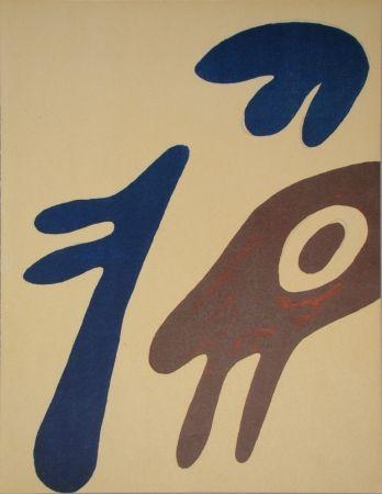 Lithographie Arp - Tête, torse et nombril sur table