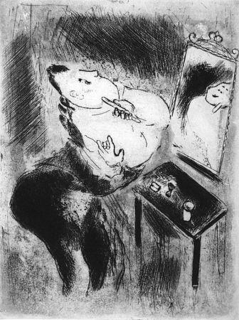 Radierung Chagall - Tchitchikov Se Rase