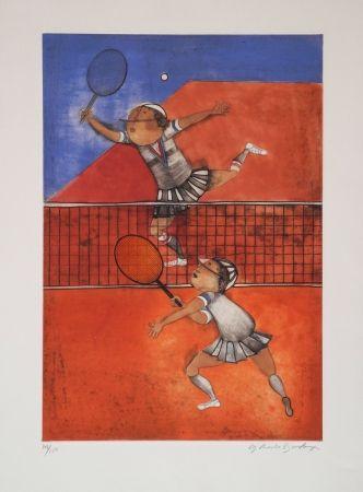 Radierung Boulanger - Tennis
