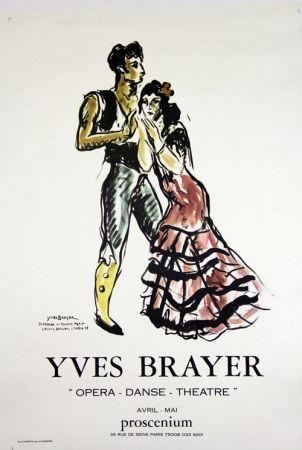 Lithographie Brayer - Teresina et Roland Petit