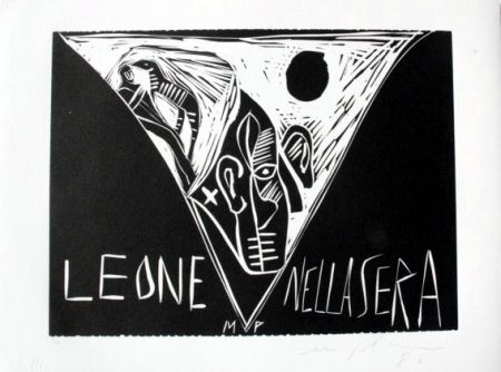 Linolschnitt Paladino - Terra tonda africana 1 - Leone nella sera