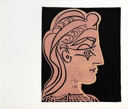 Linolschnitt Picasso (After) - Tete de Feamme