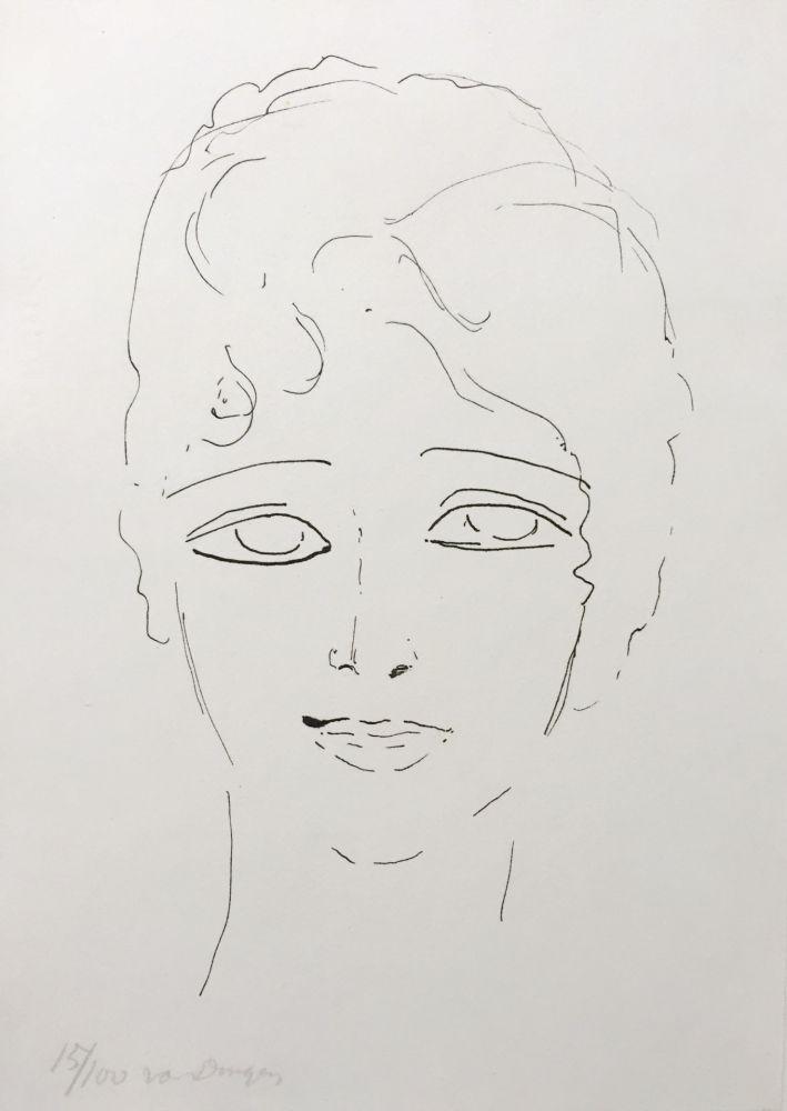 Lithographie Van Dongen - Tete de Femme