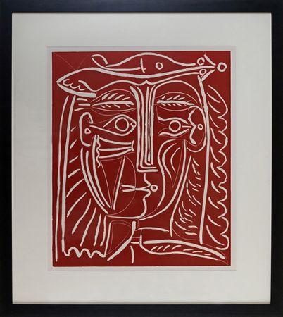 Linolschnitt Picasso - Tete De Femme Au Chapeau, Paysage Avec Baigneurs