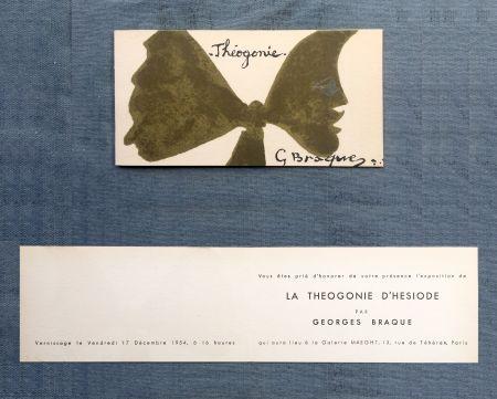 Lithographie Braque - THÉOGONIE. Carton d'invitation au vernissage Galerie Maeght. 1954