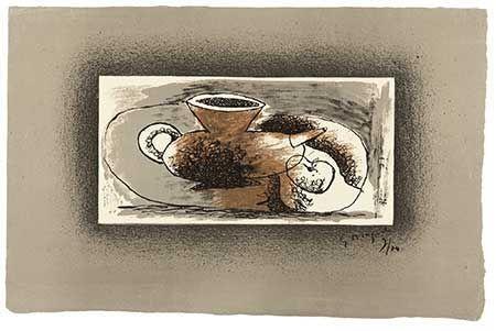 Lithographie Braque - Théière Sur Fond Gris