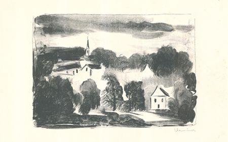 Lithographie Vlaminck - Théméricourt le clocher dans les arbres