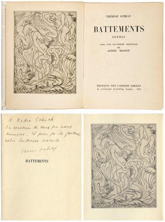 Illustriertes Buch Masson - Thérèse Aubray : BATTEMENTS. 1/35 avec la gravure d'André Masson (Paris, 1933).
