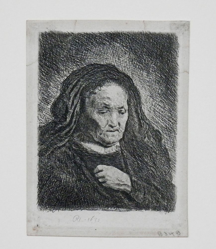 Stich Rembrandt - The artist's mother with her hand on her chest