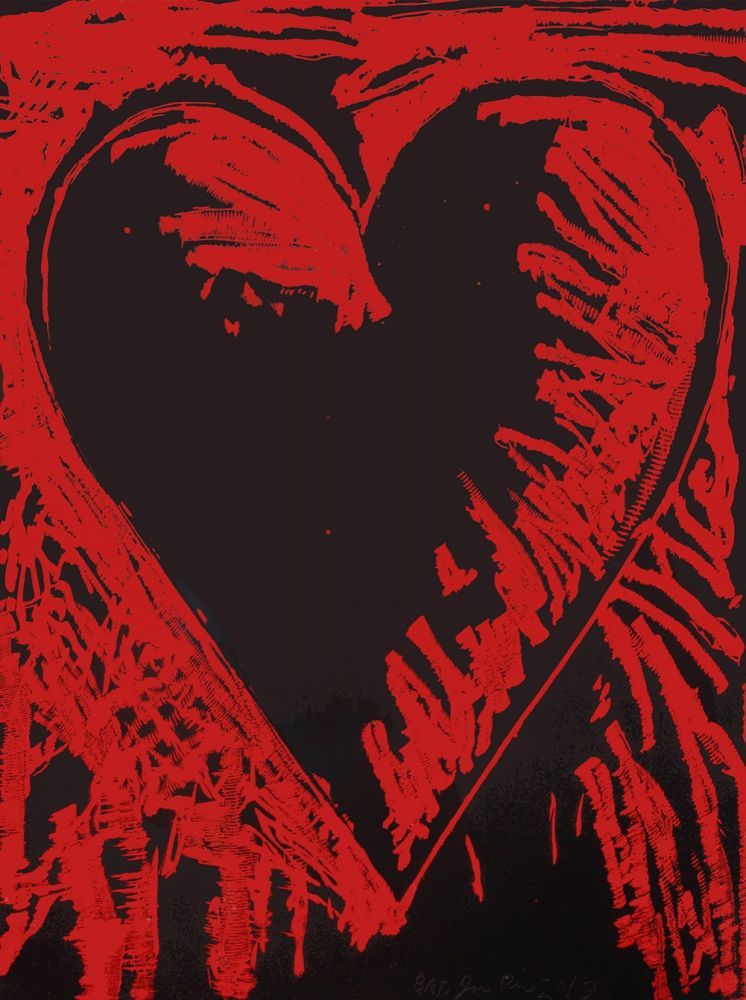 Holzschnitt Dine - The Black and Red Heart