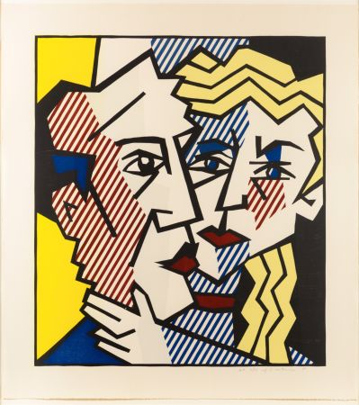 Holzschnitt Lichtenstein - The Couple, From The Expressionist Woodcut Series
