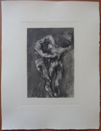 Radierung Rodin - The Fight