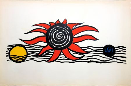 Lithographie Calder - The red sun