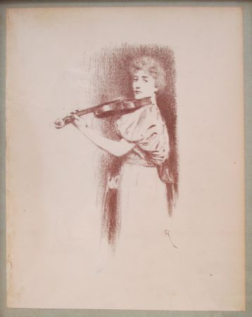 Lithographie Khnopff - The Violinist