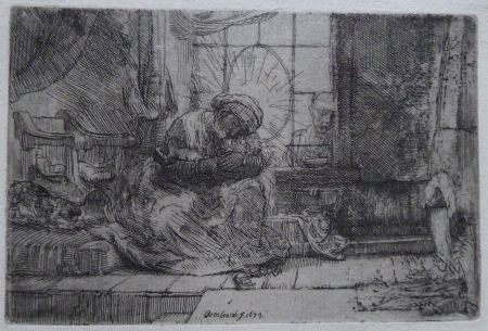 Stich Rembrandt - The Virgin and Child with the cat and snake.