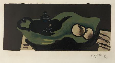 Lithographie Braque - Theiere et Pommes