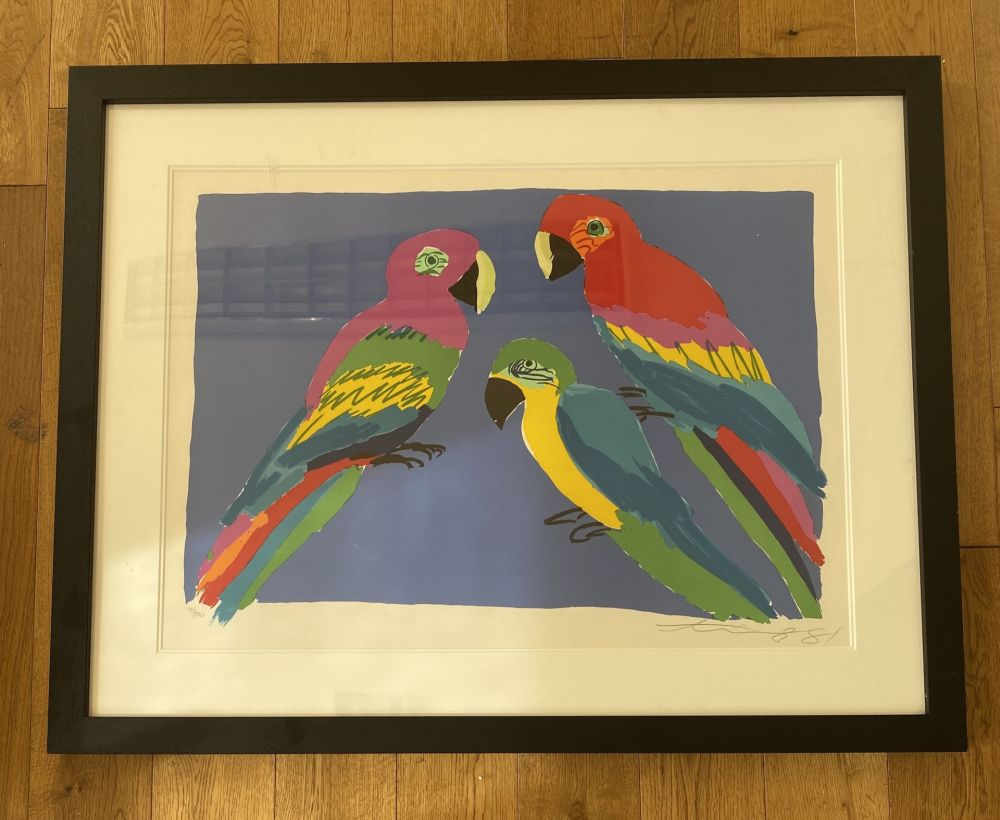 Linolschnitt Ting - Three Parrots