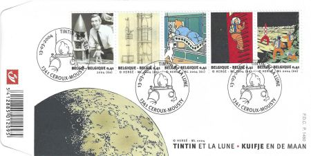 Intaglio Rémi - Tintin et la Lune - First Day Covers