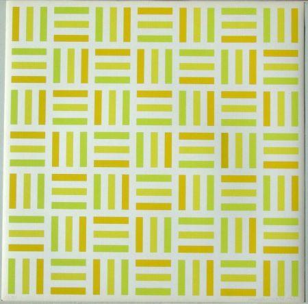 Siebdruck Morellet - Tirets jaunes,jaunes-verts,jaunes orange