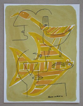 Lithographie Brauner - Traces interstices