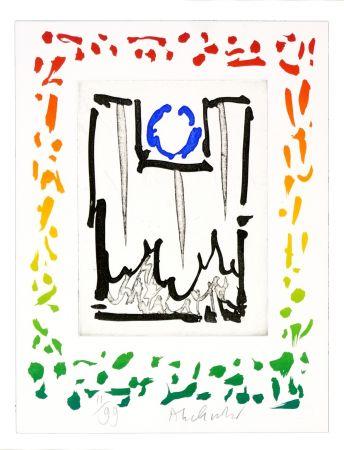 Radierung Alechinsky - Triade bleue