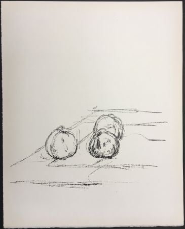 Lithographie Giacometti - TROIS POMMES (Three apples). 1961. Lithographie originale