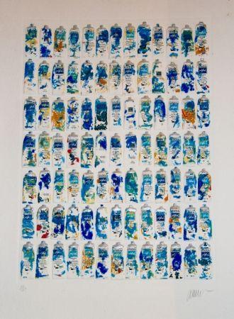 Aquatinta Arman - Tubes Bleus