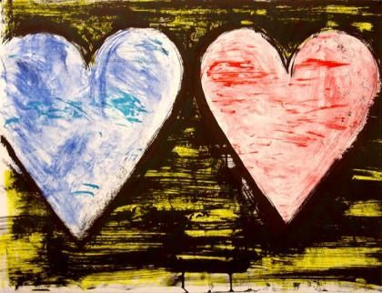 Lithographie Dine - Two Hearts At Sunset
