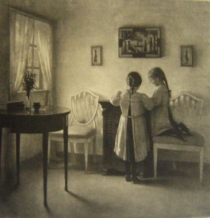 Mezzotinto Ilsted - Two little girls playing.