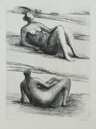 Radierung Und Aquatinta Moore - Two Reading Figures