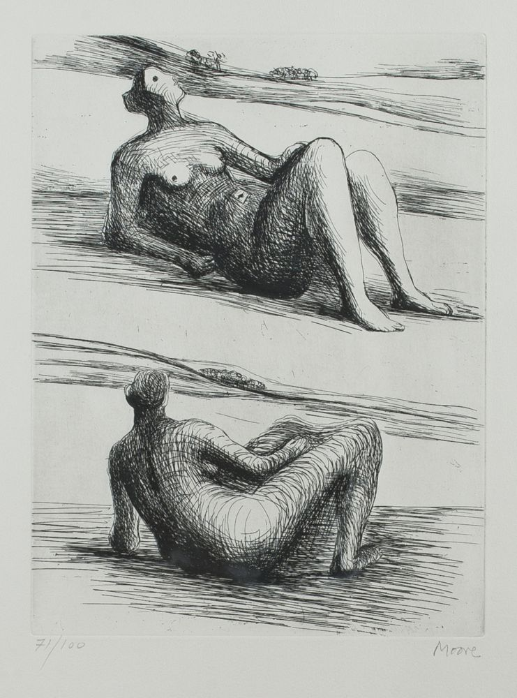 Radierung Und Aquatinta Moore - Two reclining figures