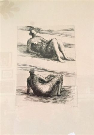 Radierung Moore - Two reclining figures