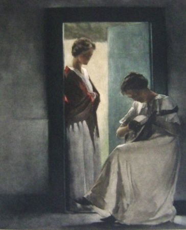 Mezzotinto Ilsted - Two young women in a doorway
