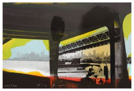Lithographie Soulie - Under a Bridge