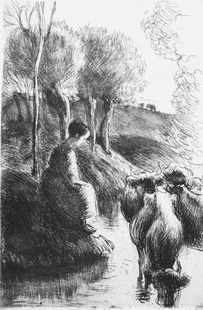 Radierung Pissarro - Vachère au bord de l'eau