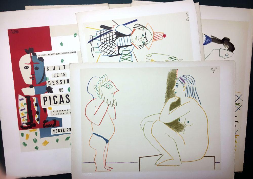 Lithographie Picasso - Vallauris, suite de 180 (15) dessins de Picasso. RARISSIME SUITE COMPLÈTE SUR VÉLIN D'ARCHES.
