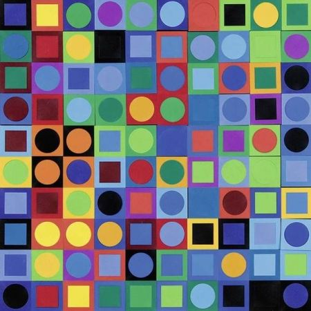 Lithographie Vasarely - Vasarely Planetary Folklore Participations N° 1