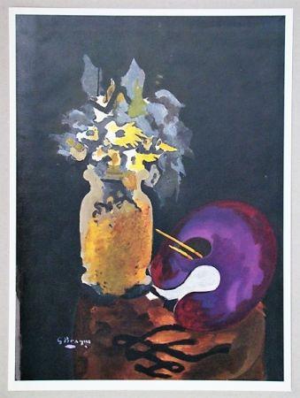 Lithographie Braque (After) - Vase de fleurs jaunes